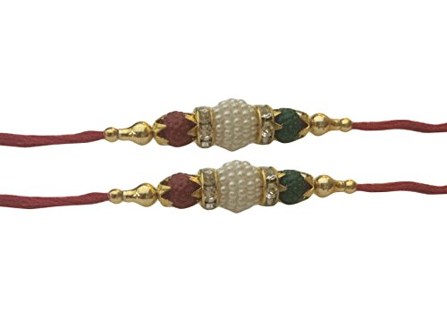 Set of Two Rakhi, Stone With Rudraksha Design Rakhi thread, Raksha bandhan  Gift for your Brother, color of thread my very