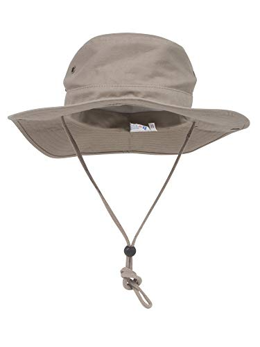 (Mega Cap Mens Brushed Cotton Twill Aussie Side Snap Chin Cord Hat (Khaki Brown, XL))