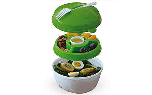 Eternal Healthy Eating Salad Bowl & Lunch Box with Fork Leak Proof BPA-Free 6 Pieces Set Large Green