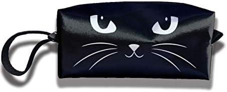 レディース ポータブル 小物入れ 化粧ポーチ 収納ポーチ かわいい白い猫 白い目 黒い顔 ヒゲ 収納袋 ガジェットポーチ コンパクト 便利グッズ インナーバッグ 軽量 小さめ メイクポーチ トイレタリーバッグ おしゃれ 便利 旅行 出張