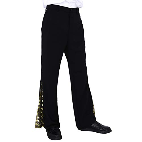 CHICTRY Men's 70's d Disco Dancewear Bell Bottom Flared Side with Sequins Dance Long Trousers Gold -