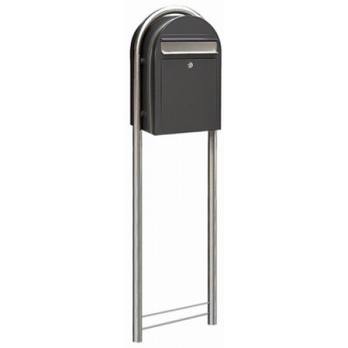 Bobi Post for Mailbox, Grey Stainless Steel Rust Proof Weather-Resistant In-Ground Mounted Round Stand -
