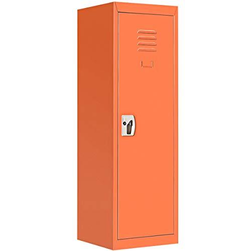 """48"""" H Orange Metal Kid Locker Storage Safe Children Cabinet Single Tier Lock Organizer w/Key with Ebook from NanaPluz"""