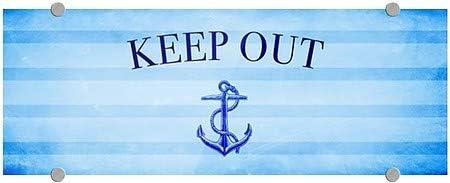 8x3 Nautical Stripes Premium Brushed Aluminum Sign CGSignLab Keep Out