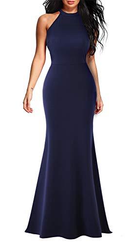 Lamilus Women's Sleeveless Lace Halter Neck Mermaid Long Elegant Evening Party Desses(L,Navy Blue-L028)