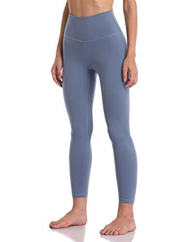 YUNOGA Women's Soft High Waisted Yoga Pants Tummy Control Ankle Length Leggings (XS, Steel Blue)