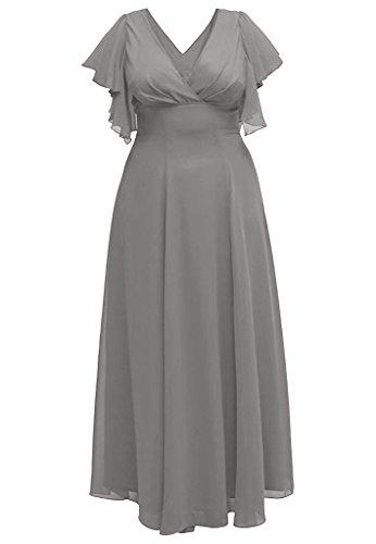 Charm Bridal Long Plus Size Chiffon Deep V Neck Mother of the Bride Summer Dress -22W-Grey by Charm Bridal