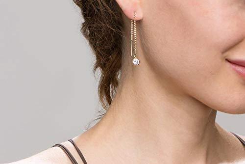 CZ Diamond Thread Earrings // Dangling Diamond Ear Threader // Threader earrings, gold statement hoops // Stocking stuffer Gift for Her