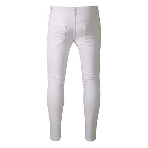 Ragazzi color Classiche Strappati Vintage Uomo Pantaloni Moda Eleganti Casual Size Jeans Blu Fit 30 36 Elasticizzati Bianca Slim Da wZwq46f
