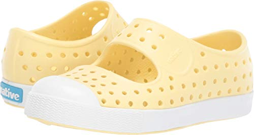 Native Shoes Girls' Juniper Child Mary Jane Flat, Gone Bananas Yellow/Shell White, 9 Medium US Toddler