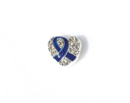 Blue Ribbon Heart Shaped Charm with Crystals Buy 1 Give 1 -- 2 Charms for only $9.99