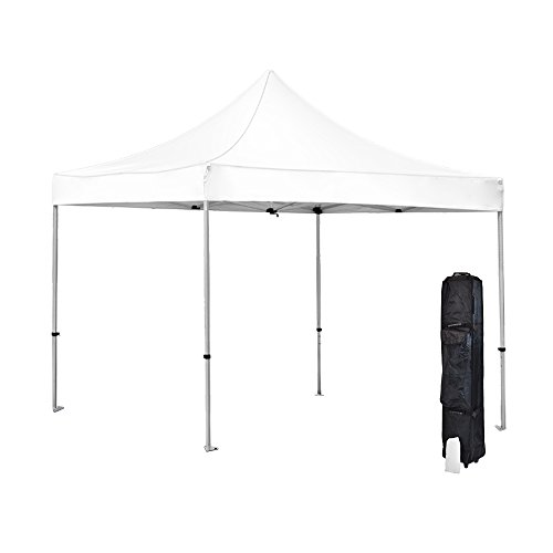 Vispronet - Strong White 10ft x 10ft Commercial-Grade Outdoor Pop Up Canopy- Resists Up to 30MPH Winds - Includes Aluminum Hex Frame, Canopy Top, Roller Bag, and a Stake Bag - B073VTHXTF