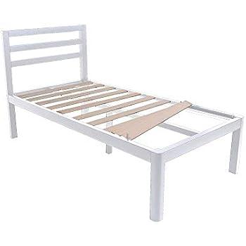 Amazon Com Intellibase Deluxe Metal White Platform Bed