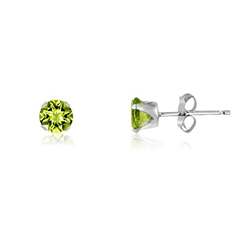 Round 2mm Sterling Silver Genuine Peridot Stud Earrings, Free Gift Box included