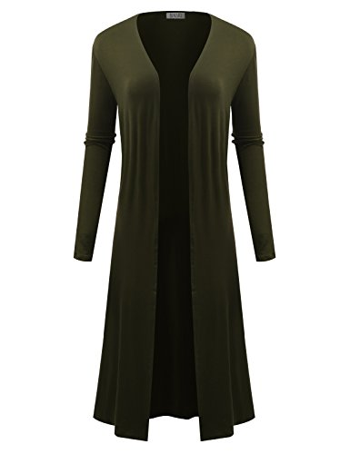 BIADANI Women Classic Long Sleeve Soft Drape Split Hem Maxi Cardigan Olive Medium