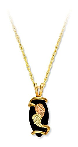 Onyx Marquise Pendant Necklace, 10k Yellow Gold, 12k Green and Rose Gold Black Hills Gold Motif, (Black Hills Gold Onyx Necklace)