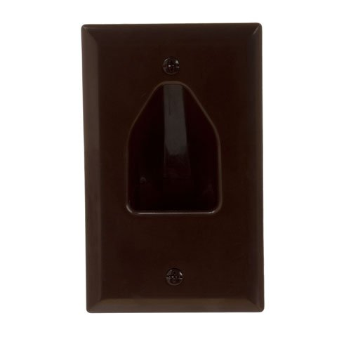 - Cmple - Wall Plate - 1-Gang Recessed Low Voltage Cable - Brown