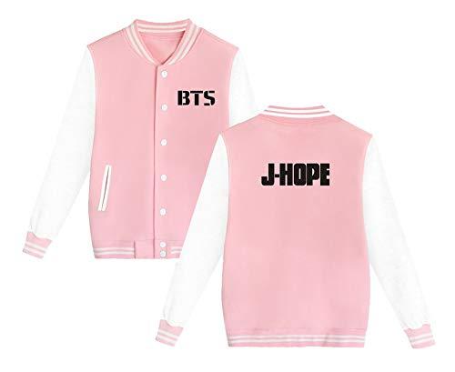 Casual Cashmere Aivosen Baseball Moda Outwear pop Allentato Giacca Bangtan Plus Da Bts Pink1 Style Semplice Unisex K Sweatshirts Boys 7Brqx87Pa