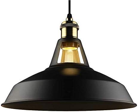 B2ocled Retro Industrial Black Pendant Lighting,Barn Farmhouse Pendant Light E26 E27 Base for Kitchen Island, Metal Aluminum Shade Ceiling Hanging Lights Black, 12