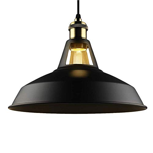 B2ocled Pendant Light Industrial Barn Farmhouse Hanging Light Fixture E26/E27 Base, Vintage Metal Black Pendant Lighting Lamp For Kitchen Dining, 12In ()