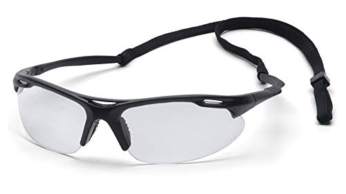Pyramex Safety Avante Eyewear, Black Frame, Clear Lens with Cord