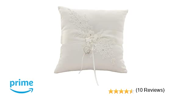 XYJIE Encaje Perla Marfil Satinado Flor Anillo de Boda Portador Almohada 21 cm x 21 cm para Boda Decorativos