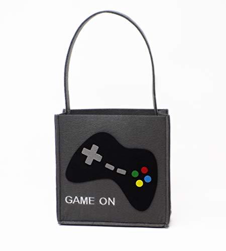 Game On Video Game Gamer Themed Bucket Felt Basket