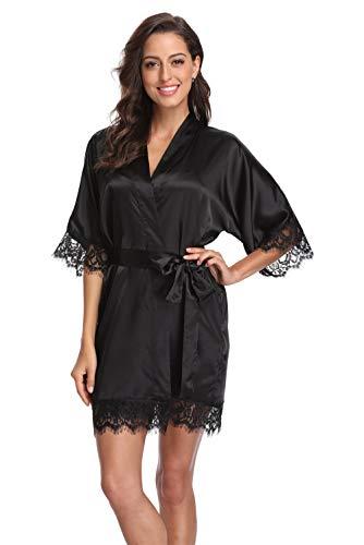 Original Kimono Women's Lace-Trimmed Satin Short Kimono Robe Bathrobe Loungewear Black S