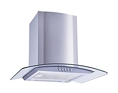 "Winflo New 30"" Convertible Stainless Steel/Tempered Glass Wall Mount Range Hood with Aluminum Mesh filter or Baffle Filters, LED lights and Push Button 3 Speed Control"