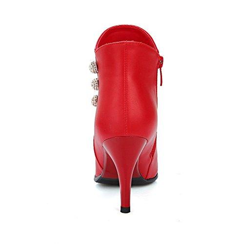 VogueZone009 Material Stiefel Metallisch Weiches Spitz Hohe Zehe Damen Stiletto Rot Knöchel rU1qrp
