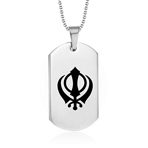 NJ Personalized Customized Punjabi Sikh Khanda Sikhism Necklace Good Luck Friendship Sikh Dog Tag Pendant Religious Jewelry for Men Women Friends,Free Engraving Custom