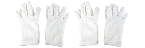 Girls Tea Party Stretch Polyester Dress Short Gloves Set of 4 White (Child Short White Gloves)