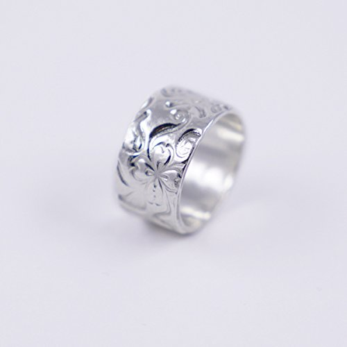 26b273db3d9f Anillo ancho de plata para mujer con flores de plata 1000 reciclada ...