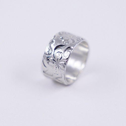 3b53b20d9f3f Anillo ancho de plata para mujer con flores de plata 1000 reciclada ...