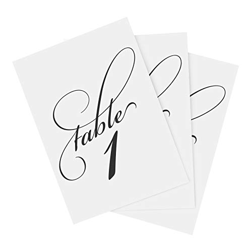 Team Holder Clip Paper - Black Wedding Table Numbers (Assorted Color Options Available), Double Sided 4x6 Calligraphy Design, Numbers 1-25 and Head Table Card Included - from Bliss Paper Boutique