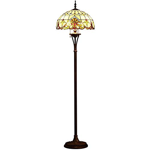 QCKDQ 18 Inch Floor Light, Tiffany Style Floor Lamp with Baroque Style and Zipper Switch Stained Glass Lamp, Retro Livingroom Decoration Lights E27