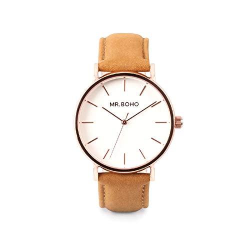 Reloj Rosado Mr. Boho Cadete ESF.Blanca Correa Piel Marron 36 Mm.00728460: Amazon.es: Relojes