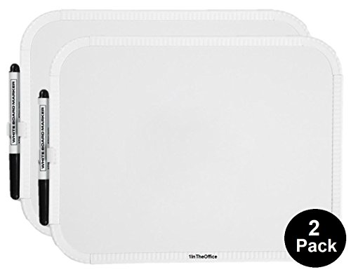 Erase Small Dry - 1InTheOffice White Board, Small White Board 8-1/2 x 11 Inches, Mount Whiteboard W Magnetic Strip (2 Pack)