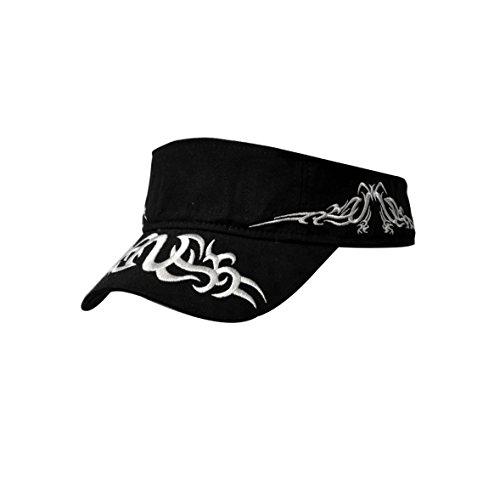 (KC Caps Men's Adjustable Flare Racing Visor Cap Black with White Flames)