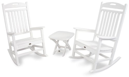 Trex Outdoor Furniture TXS121-1-CW Yacht Club 3-Piece Rocker Chair Set, Classic White (Club Polywood)