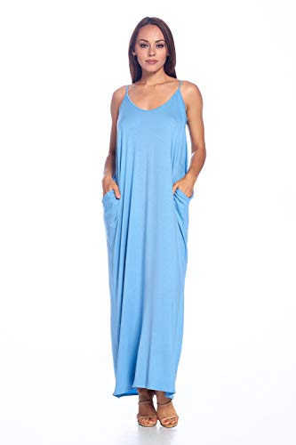 (Isaac Liev Women's Casual Loose Long Maxi Dress Spaghetti Strap Dress with Pockets (2X-Large, Denim Blue))