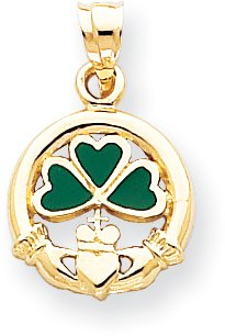 Quality Gold Green Enameled Claddagh with Shamrock Charm, 14K Yellow Gold ()