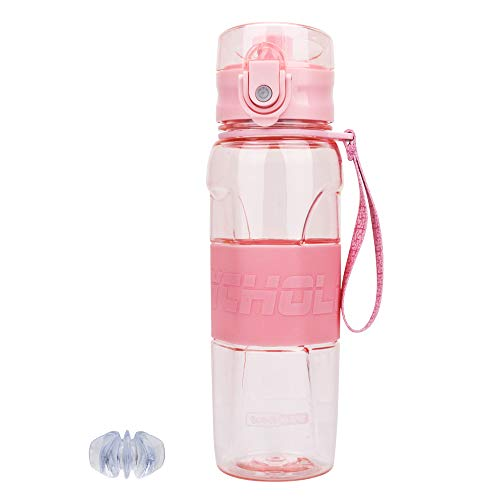 (Tinsim 500ML Sport Water Bottle with Blender Ball& Filter, Flip Top Lid & One Click Open & Anti-Slip Grips,BPA Free Infuser Water Bottle for Fitness,Outdoor,Travel,Leakproof & Durable(Pink) )