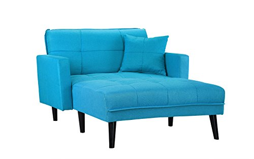 Mid Century Modern Linen Fabric Sleeper Chaise Lounge - Futon Sleeper Single Seater with Matching Accent Pillow & Reclining Backrest (Sky Blue)