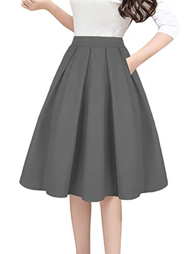 Tandisk Women's Vintage A-line Printed Pleated Flared Midi Skirts with Pockets (Grey, L)