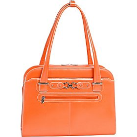 McKleinUSA LAKEWOOD 96610 Orange Leather Fly-Through Checkpoint-Friendly Detachable-Wheeled Ladies' Briefcase