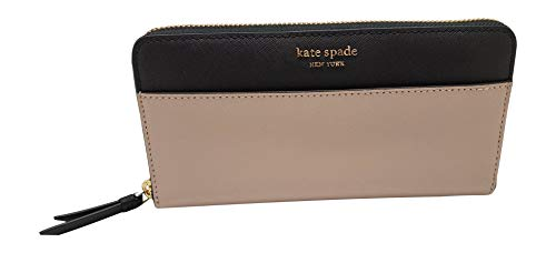 Kate Spade New York Laurel Way Neda Saffiano Leather Zip Around Wallet (Black) (Warm Beige/Black)