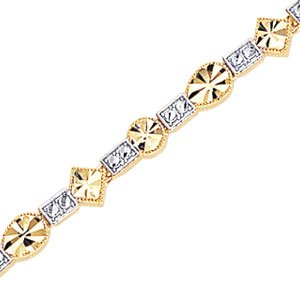 2-Tone Rhodium & 14K Yellow Gold Diamond Cut Metal Mold Geometric Bracelet