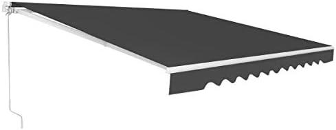 COSTWAY Intrekbare zonneluifel Aluminium terras zonnescherm met zwengel en Waterbestendige polyester buiten handleiding Intrekbare zonneluifel overkapping 300x250cm Grijs