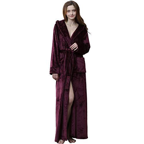 - Women Robes with Hood Long Soft Warm Full Length Sleepwear Luxurious Plush Fleece Winter Ladies Robe Wine Red